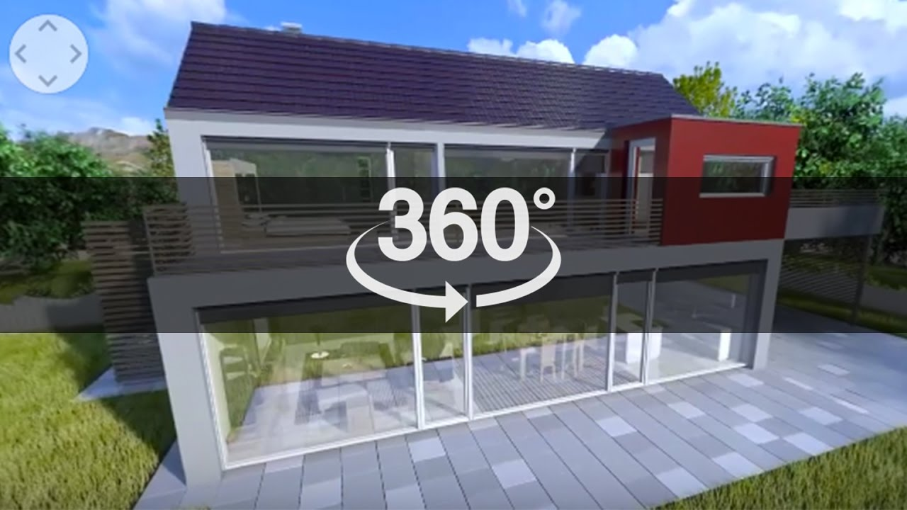 House Ext. to Int. 360 3D with motion graphics 4K render check