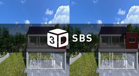 House Ext. to Int. 3D with motion graphics Side By Side (SBS) 4K render check