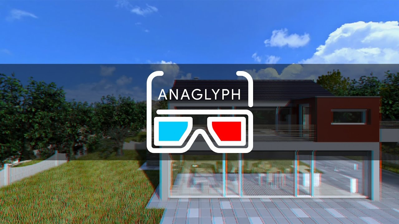 House Ext. to Int. 3D with motion graphics anaglyph stereo render check